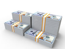 Pilhas de 100 notas de dólar Foto de Stock Royalty Free