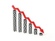 Pilhas de perda de microplaquetas de póquer Fotografia de Stock Royalty Free