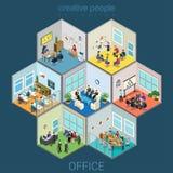 Pilhas de sala interiores do escritório ilustração do vetor