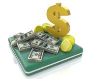 Pilhas de sinal do dinheiro e de dólar Imagem de Stock