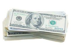 Pilhas de Thre do dinheiro dos dólares Imagens de Stock