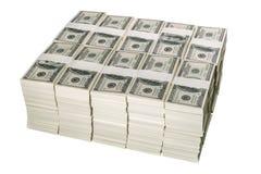 Pilhas de um milhão de dólares americanos em cem cédulas do dólar Fotos de Stock