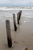 Pilhas do cais ao longo da praia Imagens de Stock Royalty Free