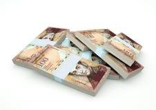 Pilhas do dinheiro da Venezuela isoladas no fundo branco Fotografia de Stock Royalty Free