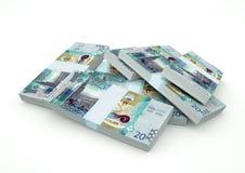 Pilhas do dinheiro de Kuwait isoladas no fundo branco Fotografia de Stock Royalty Free