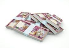 Pilhas do dinheiro de Omã isoladas no fundo branco Fotografia de Stock Royalty Free
