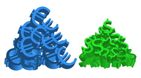 Pilhas do Euro e do dólar Fotografia de Stock