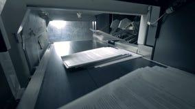 Pilhas do papel que obtêm no transporte automatizado, facilidade da tipografia video estoque