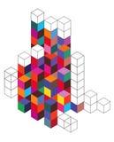 Pilhas dos cubos 3d Imagem de Stock