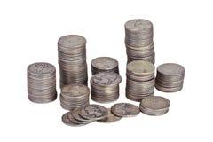 Pilhas dos quartos de prata imagens de stock