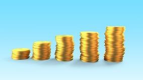 Pilhas douradas das moedas, ilustração 3D Fotografia de Stock Royalty Free