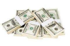 Pilhas isoladas de dinheiro Fotografia de Stock