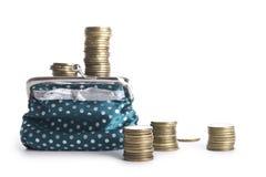 Pilhas múltiplas das moedas, carteira com Fotos de Stock Royalty Free