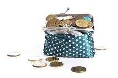 Pilhas múltiplas das moedas, carteira com, Imagens de Stock