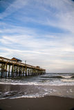 Pilier à la plage de Fernandina Images stock