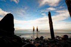 Pilier abandonné, St Clair, Dunedin, Nouvelle-Zélande Images libres de droits