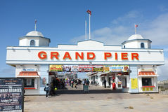 Pilier anglais traditionnel, Weston Super Mare photographie stock