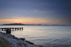 Pilier au lever de soleil, Thaïlande orientale Photographie stock