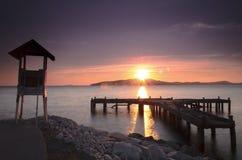 Pilier au lever de soleil, Thaïlande orientale Image libre de droits