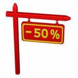 Pilier avec la remise de signe - 50 % Photo libre de droits
