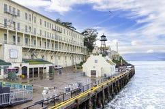 Pilier d'île d'Alcatraz, San Francisco, la Californie Images stock