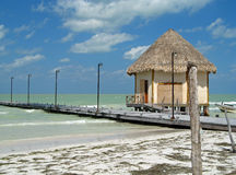 Pilier d'île de Holbox, Mexique Photo stock