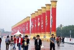 Pilier d'unité nationale dans le grand dos de Tian'anmen Images libres de droits