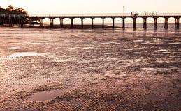 Pilier d'Urangan au coucher du soleil Hervey Bay Queensland image libre de droits