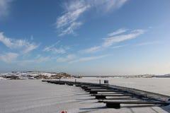 Pilier dans l'hiver Images libres de droits