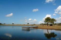 Pilier dans le lac Image stock