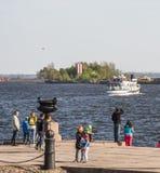 Pilier dans le port de Kronstadt, image stock