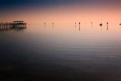 Pilier dans le port de sécurité, la Floride Photographie stock