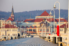 Pilier dans Sopot au matin Photographie stock