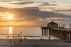 Pilier de Manhattan Beach Photos libres de droits