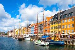 Pilier de Nyhavn à Copenhague, Danemark photos libres de droits