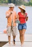 pilier de pêche de couples Images libres de droits