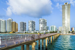Pilier de pêche de Newport en Sunny Isles Beach Photo stock