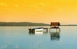 Pilier de pêcheur à la ligne chez le Lac Balaton photo stock