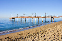Pilier de plage à Marbella Photographie stock