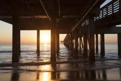 Pilier de plage de Dania au lever de soleil Hollywood, la Floride photo stock