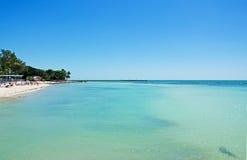 Pilier de plage de Higgs, mer, Key West, clés, Cayo Hueso, Monroe County, île, la Floride Photos libres de droits