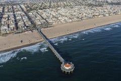 Pilier de plage de Mahattan près de Los Angeles Photo stock