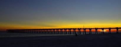 Pilier de plage de la Navarre photographie stock libre de droits