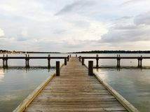 Pilier en bois, lac blanc rock, Dallas Texas photographie stock libre de droits