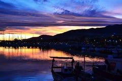 Pilier espagnol dans le coucher du soleil Images libres de droits