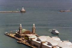 Pilier et phare de marine Images libres de droits