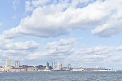 Pilier 84, nouveaux immeubles de port et Houston River Photo libre de droits