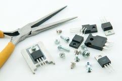 Pilier para o transistor do conjunto com dissipador de calor fotografia de stock
