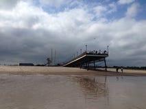 Pilier sur la plage de Skegness Photo stock