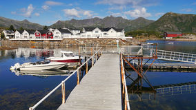 Pilier sur les îles norvégiennes de Lofoten Photo stock